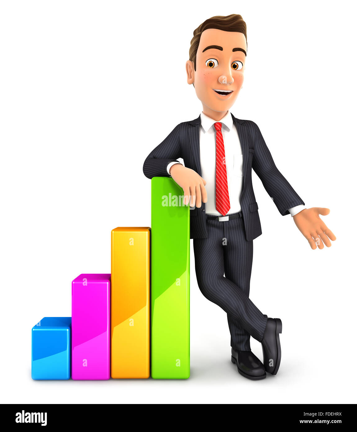 3d businessman leaning against bar chart, isolated white background Stock Photo