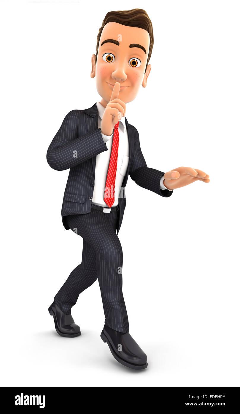 3d businessman walking on tiptoe, isolated white background Stock Photo
