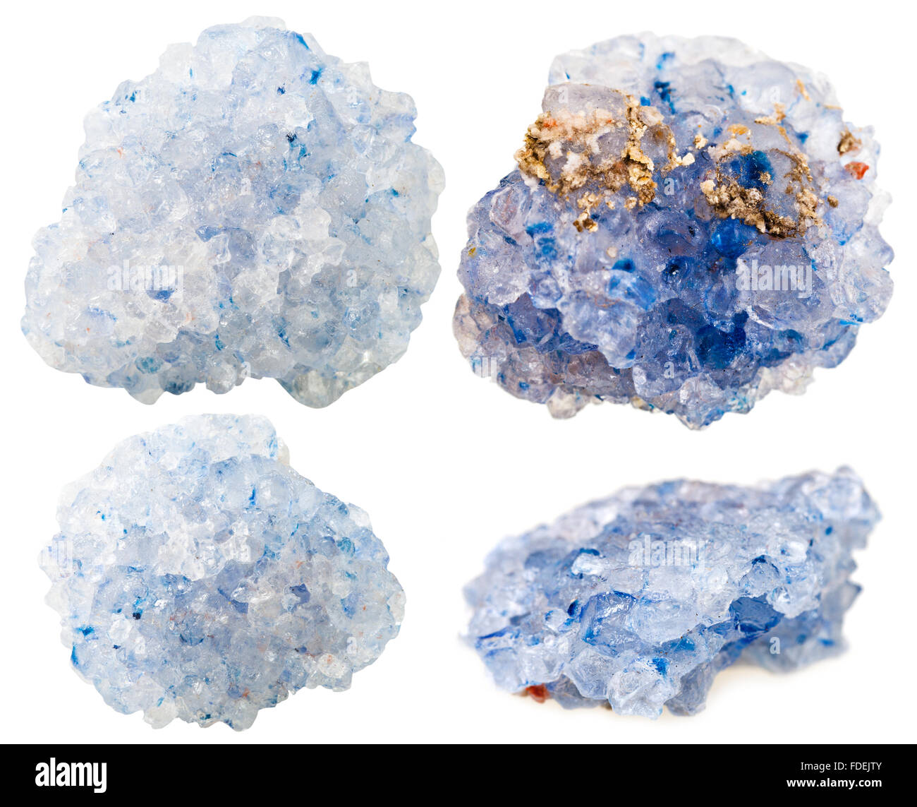 macro shooting of collection natural rock - set of blue crystalline Celestine (celestite) mineral gem stones isolated - Stock Image