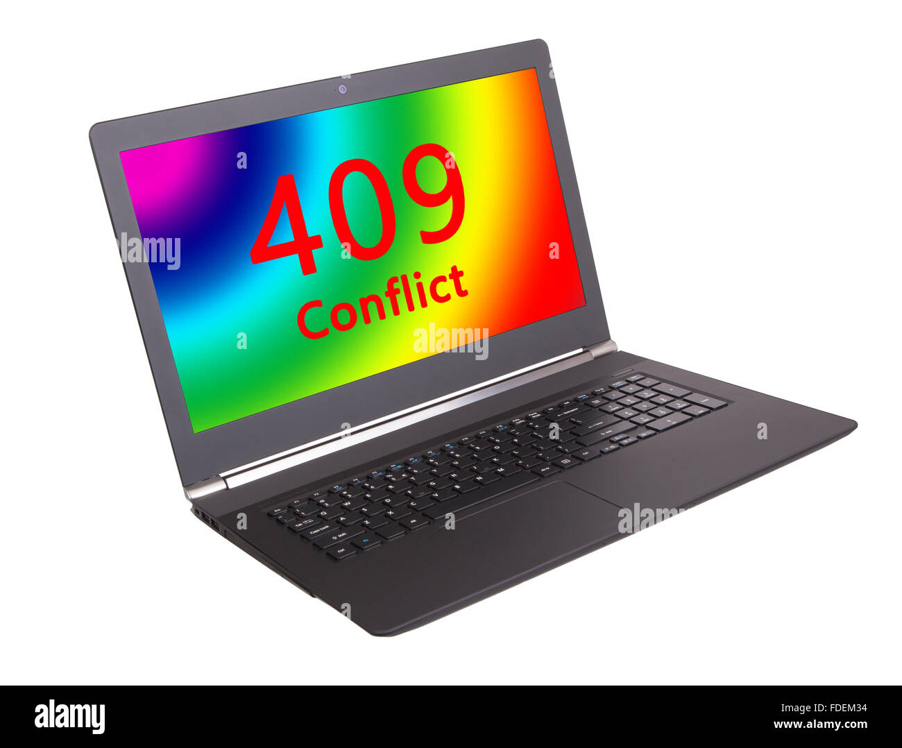 HTTP Status code on a laptop screen - 409, Conflict Stock Photo
