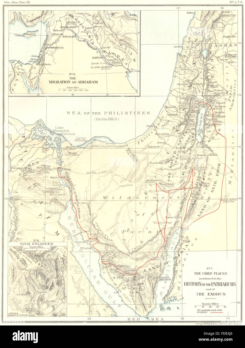 HOLY LAND: Migration Abraham places mentioned Patriarch Exodus Sinai, 1900 map - Stock Image