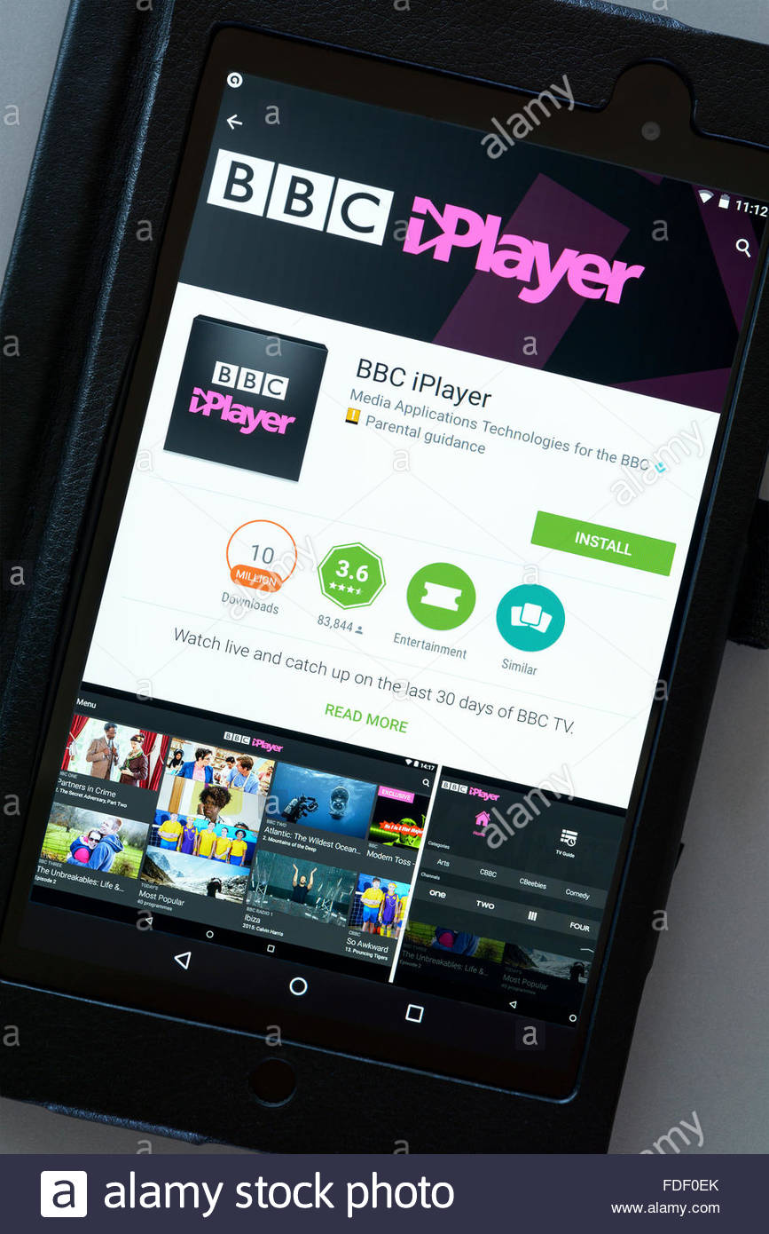 BBC iPlayer TV app All 4 on an android tablet PC, Dorset, England, UK - Stock Image