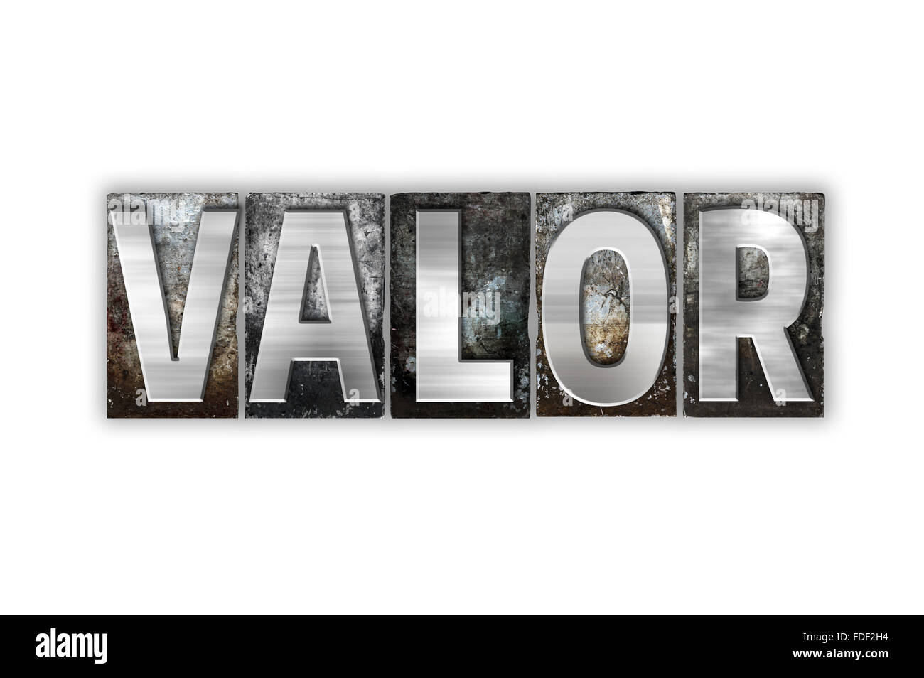 "The word ""Valor"" written in vintage metal letterpress type isolated on a white background. Stock Photo"
