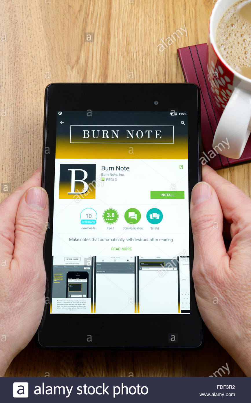 Burn Note private messaging app on an android tablet PC