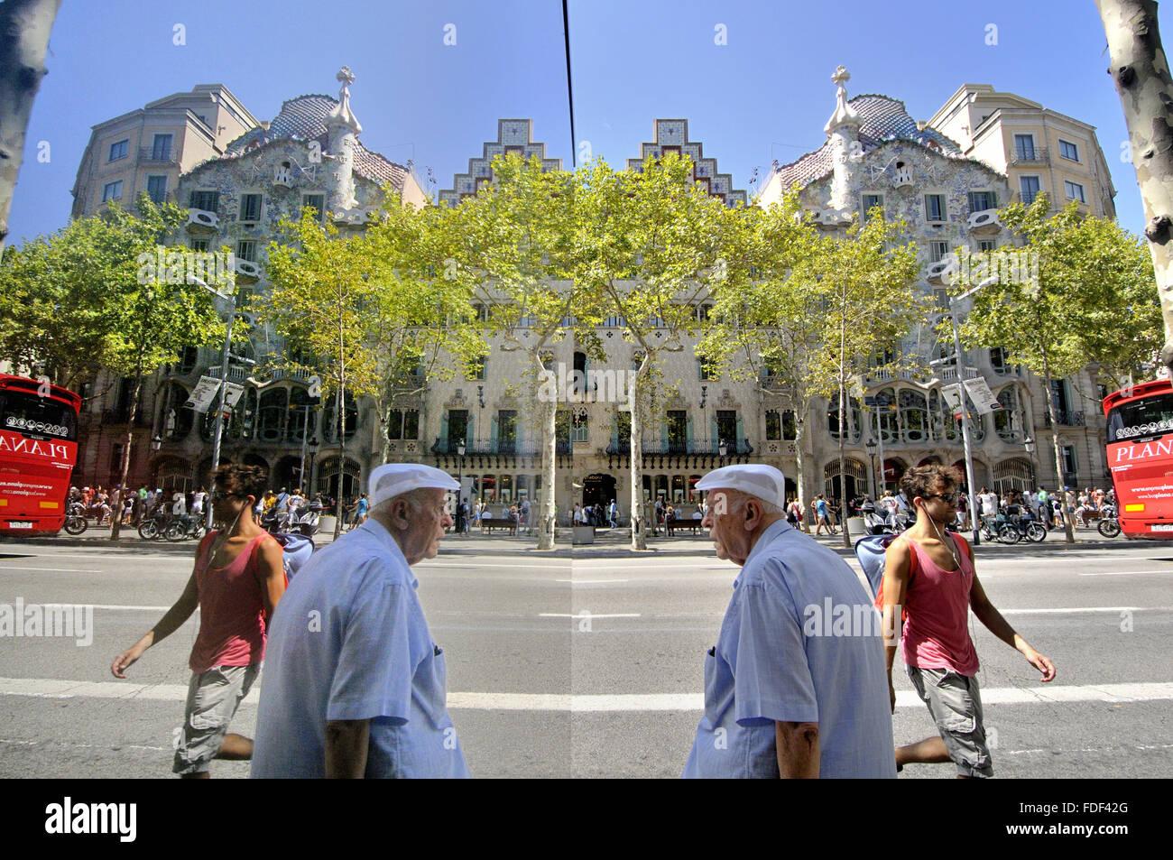 Reflection, Casa Amatller and Casa Batlló,  Passeig de Gracia. Block of discord. Barcelona. Catalonia. Spain - Stock Image
