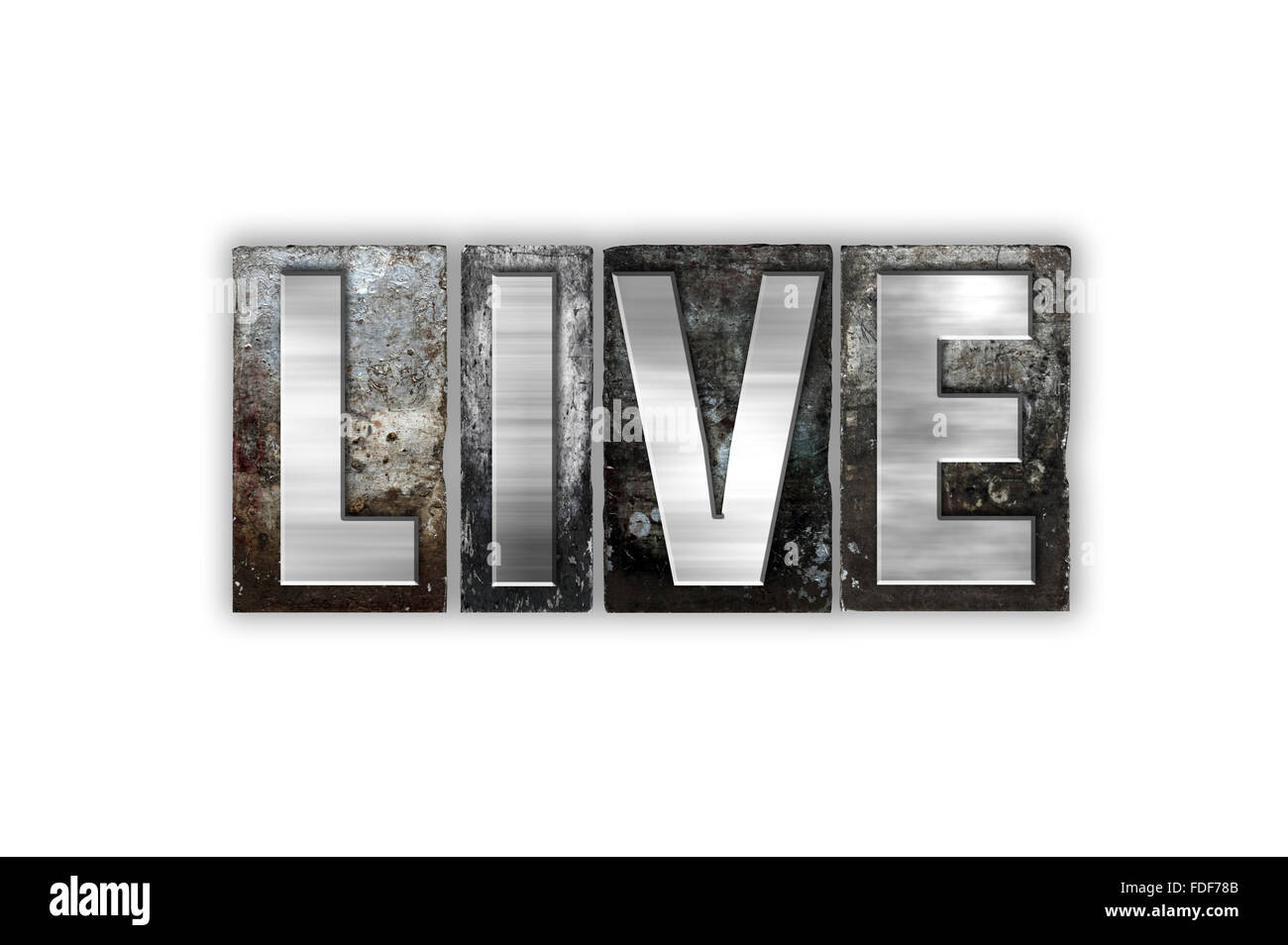 The word 'Live' written in vintage metal letterpress type isolated on a white background. - Stock Image