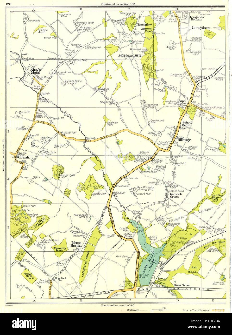 LANCS:Moss Bank,Billinge,Chadwick Green,Crank,Longshaw,King's Moss, 1935 map - Stock Image