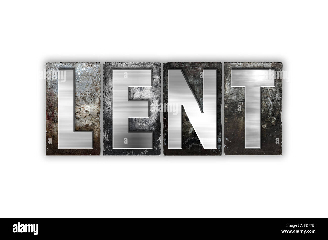 """The word """"Lent"""" written in vintage metal letterpress type isolated on a white background. Stock Photo"""