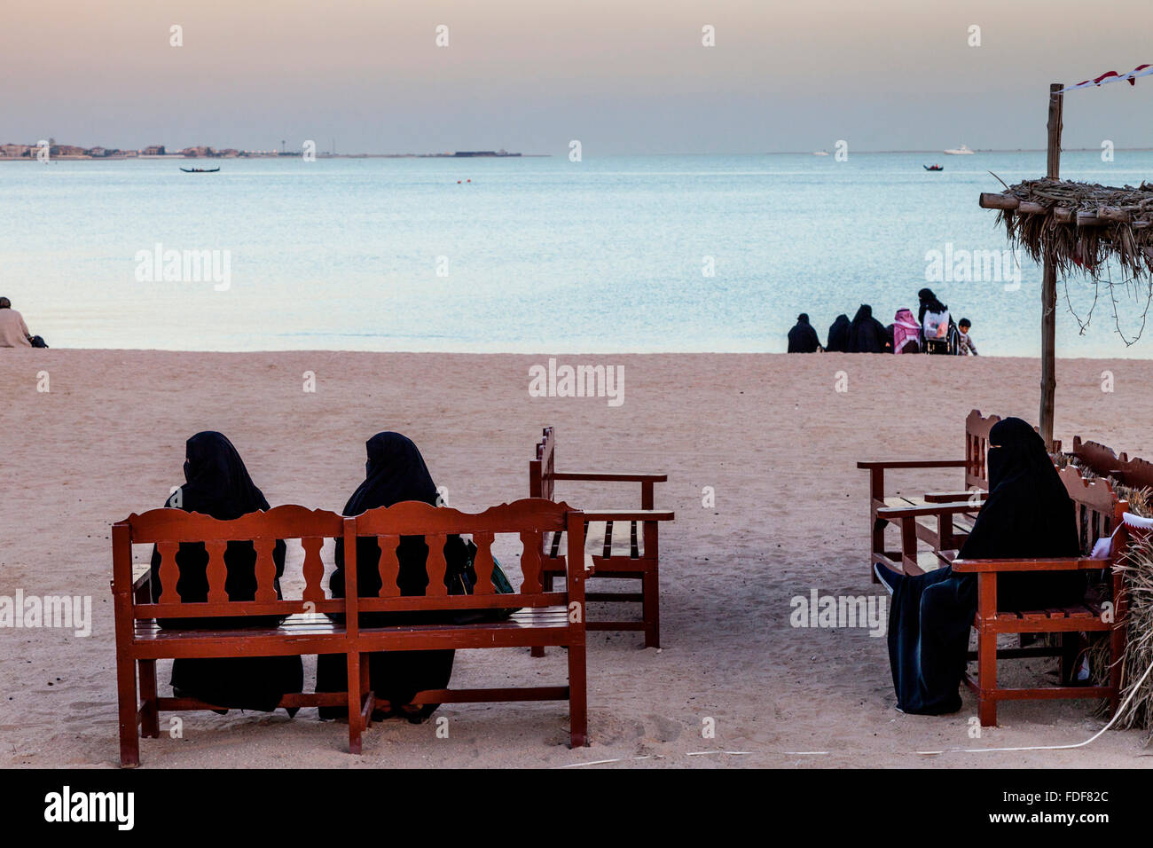 Local People On The Beach At The Katara Cultural Village, Doha, Qatar - Stock Image