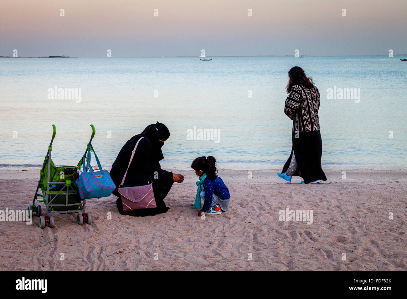 Local People On The Beach At The Katara Cultural Village, Doha, Qatar - Stock Image