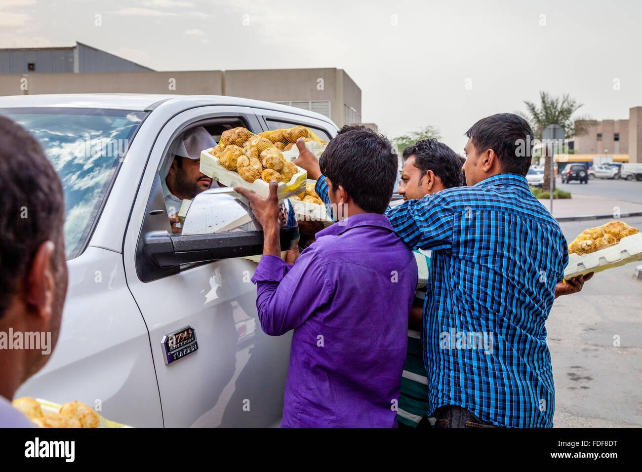 Bangladeshi Migrant Workers Sell Imported Truffles To Local Qataris, The Municipal Market, Doha, Qatar - Stock Image