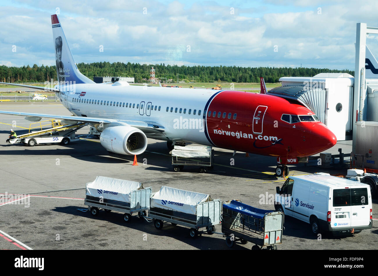 Docked, Norwegian Airline, aircraft in the Helsinki Airport. Finland - Stock Image