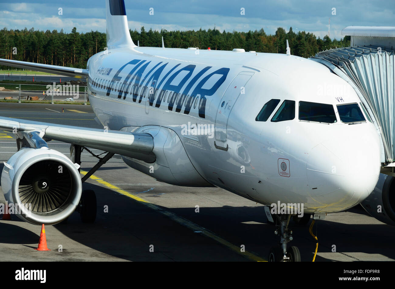 Docked, Finnair, aircraft in the Helsinki Airport. Finland - Stock Image