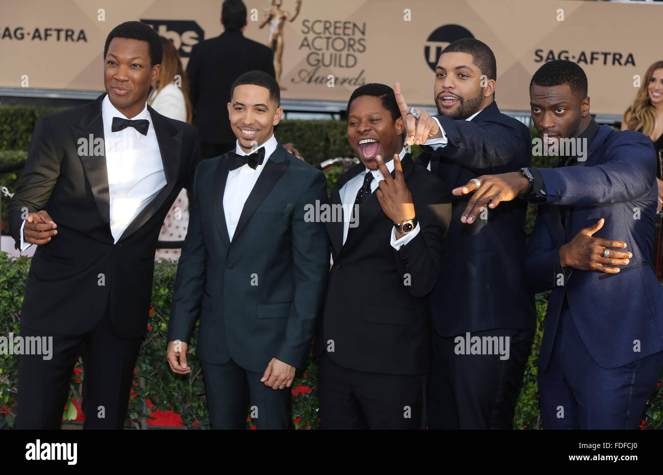 Actors Corey Hawkins, Neil Brown Jr., Jason Mitchell, O'Shea Jackson Jr. and Aldis Hodge attend the 22nd Annual Stock Photo