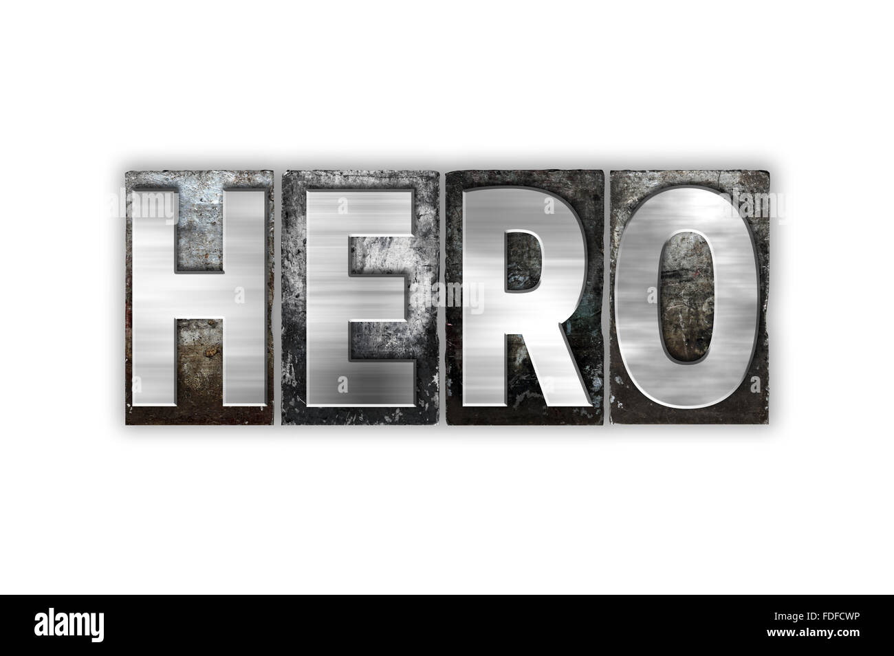 """The word """"Hero"""" written in vintage metal letterpress type isolated on a white background. Stock Photo"""