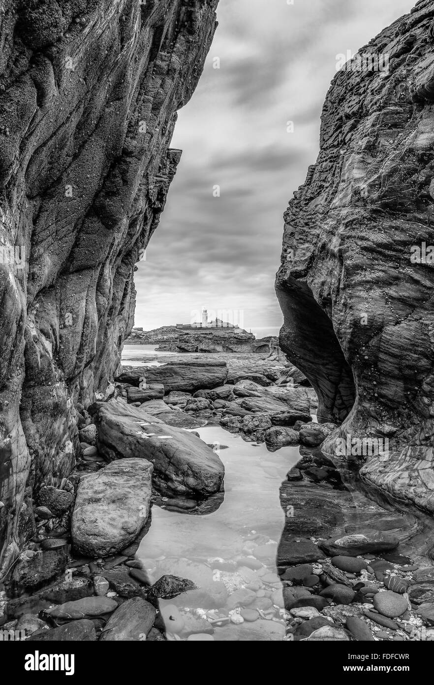 Rocky View, Godrevy Lighthouse, Cornwall, UK - Stock Image
