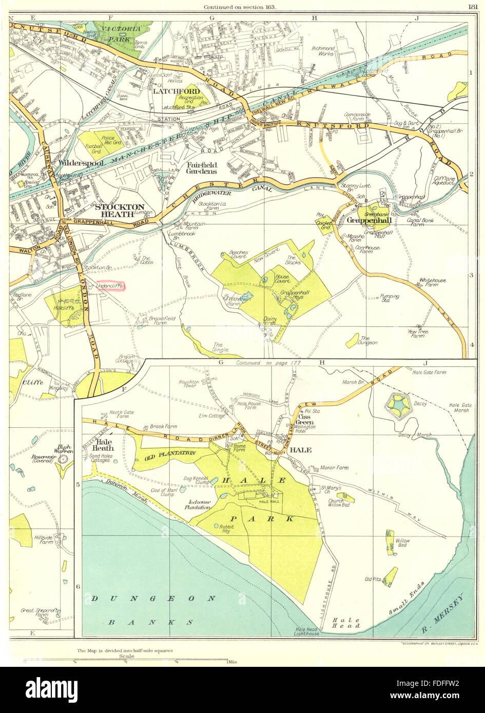 CHESHIRE:Warrington,Stockton Heath,Hale,Grappenhall,Latchford, 1935 old map - Stock Image