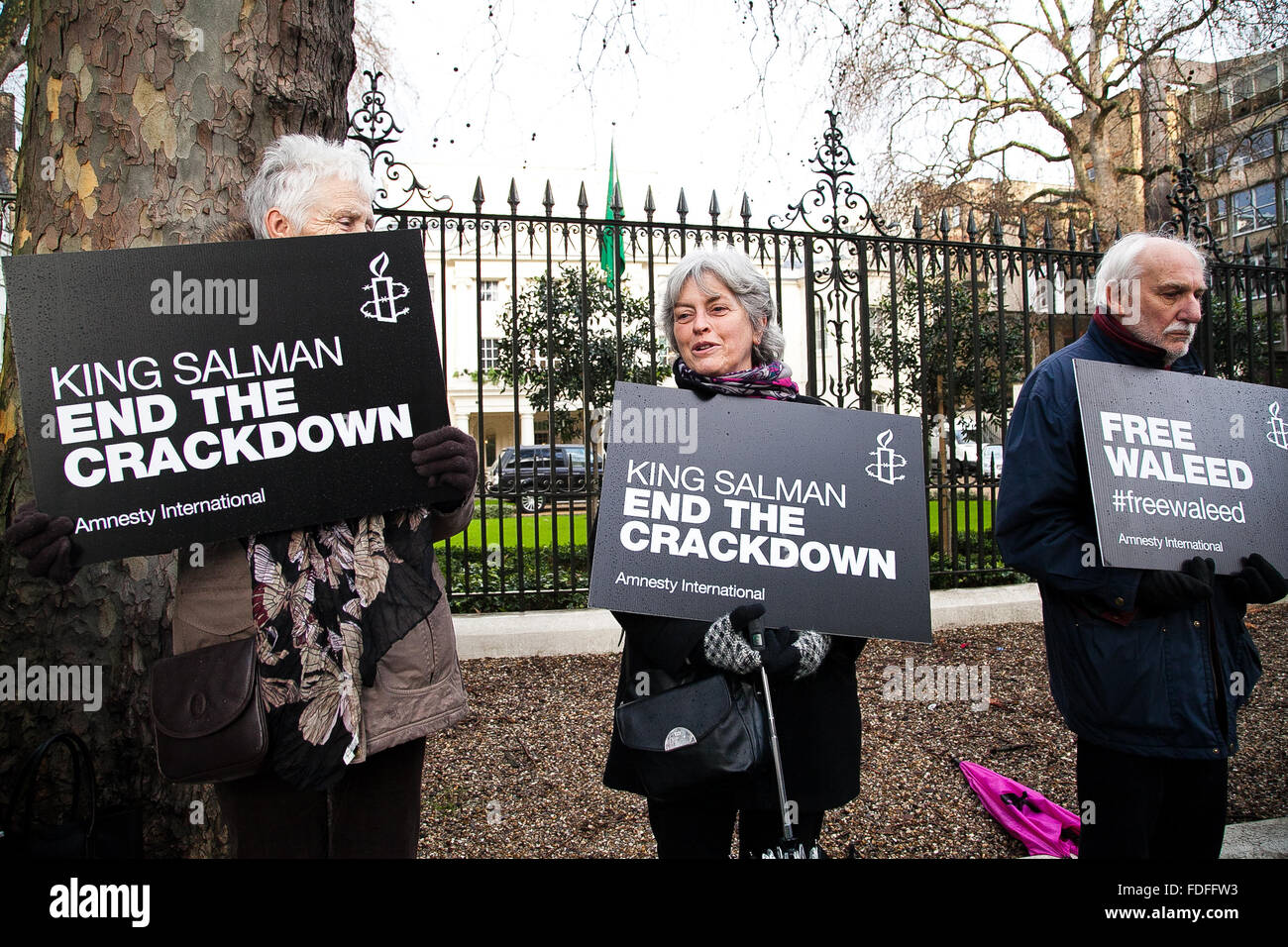 Amnesty International held a protest for the jailed free speech activist Raif Badawi outside the Saudi Arabia Embassy - Stock Image