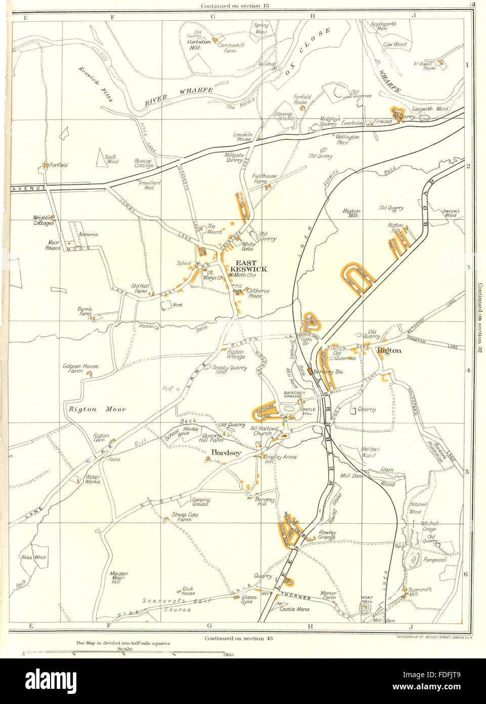 YORKS.West Church East Moor Garforth,Barrowby,Parlington Hollins 1935 old map