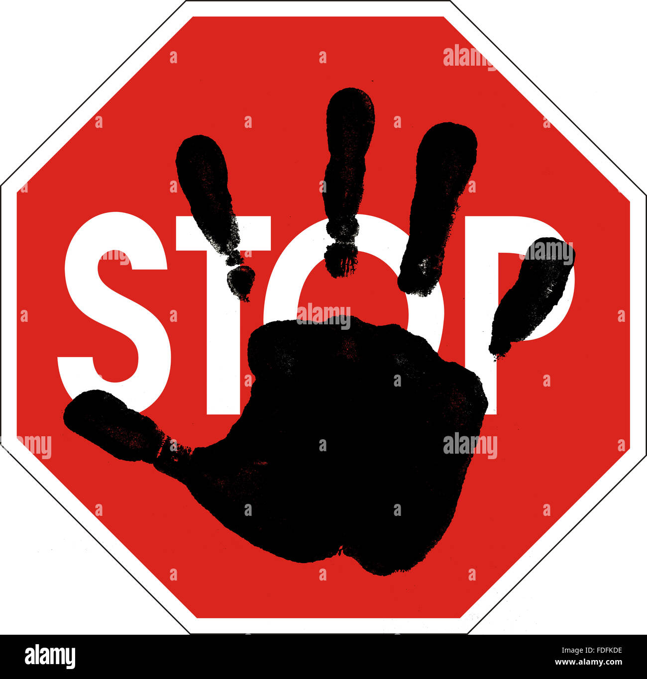 computer generated hand silhouette on Stop sign - Stock Image