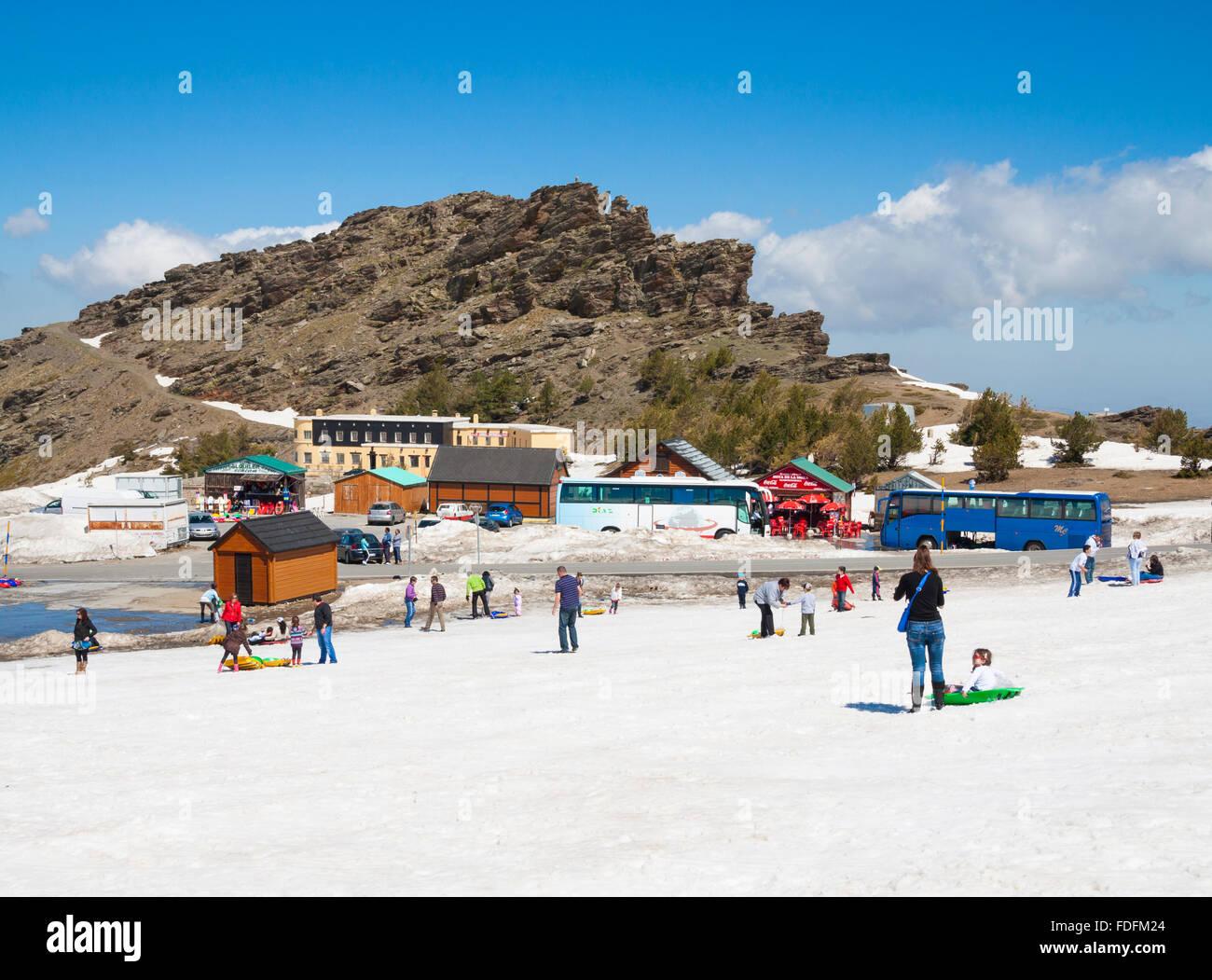 Ski resort Pradollano near Granada in the Sierra Nevada mountains, Andalusia, Spain - Stock Image