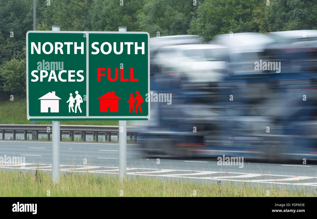 North South divide road sign concept image. UK - Stock Image