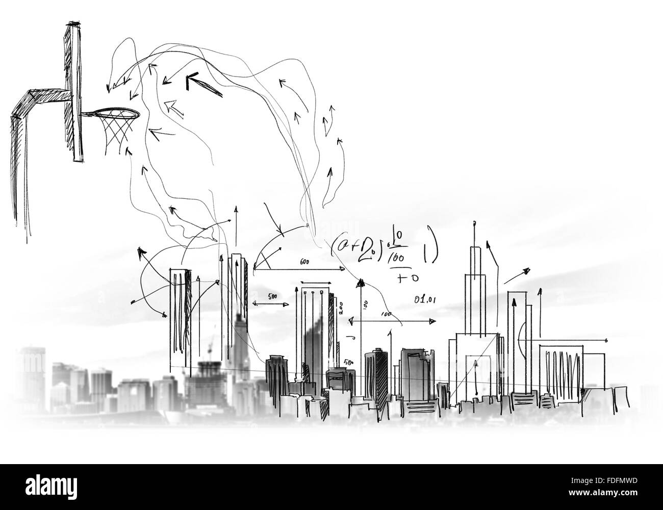 Background image with sketches and drawings on grey wall - Stock Image