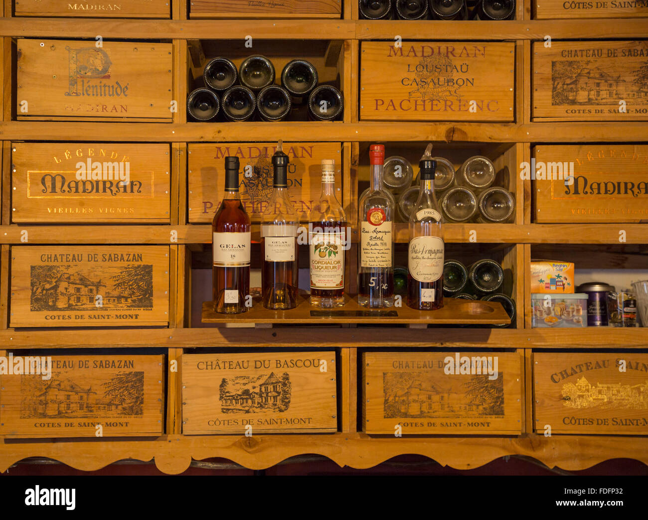 Collection of wines and armagnac in the Mano a Mano cafe-bar in Vic-Fezensac, Gers Department, Midi-Pyrénées, - Stock Image
