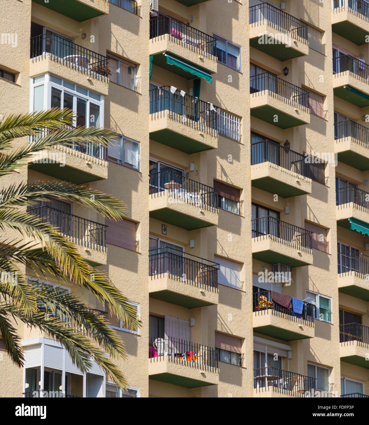 Fuengirola, Costa del Sol, Malaga Province, Andalusia, southern Spain. Balconies of an apartment block. - Stock Image