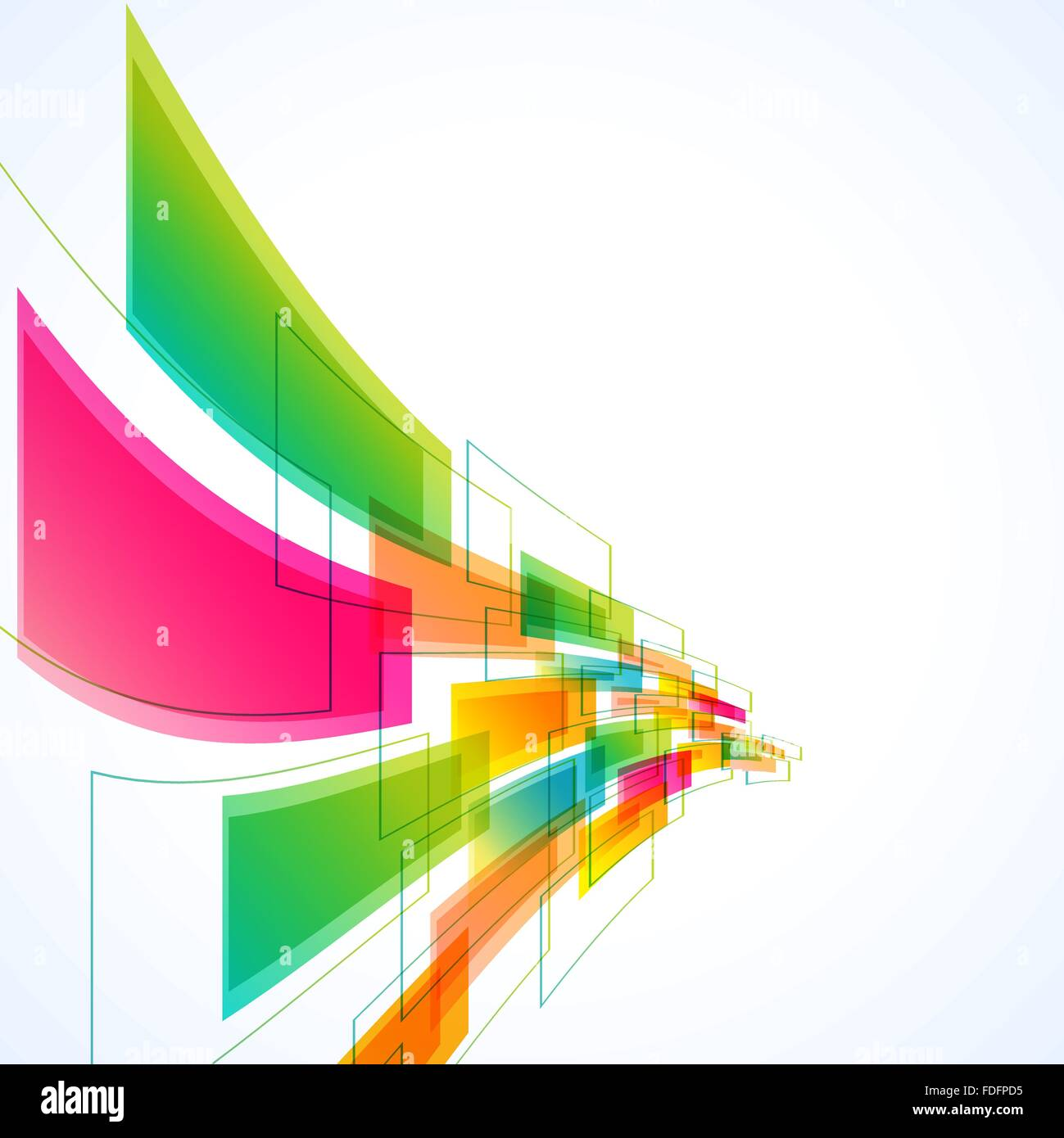 abstract background with transparent waving shapes. vector - Stock Image