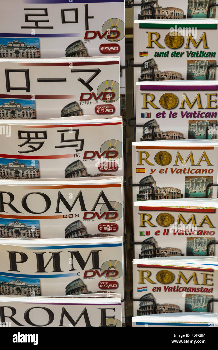 Rome, Italy.  Guide books about Rome in many different languages. - Stock Image
