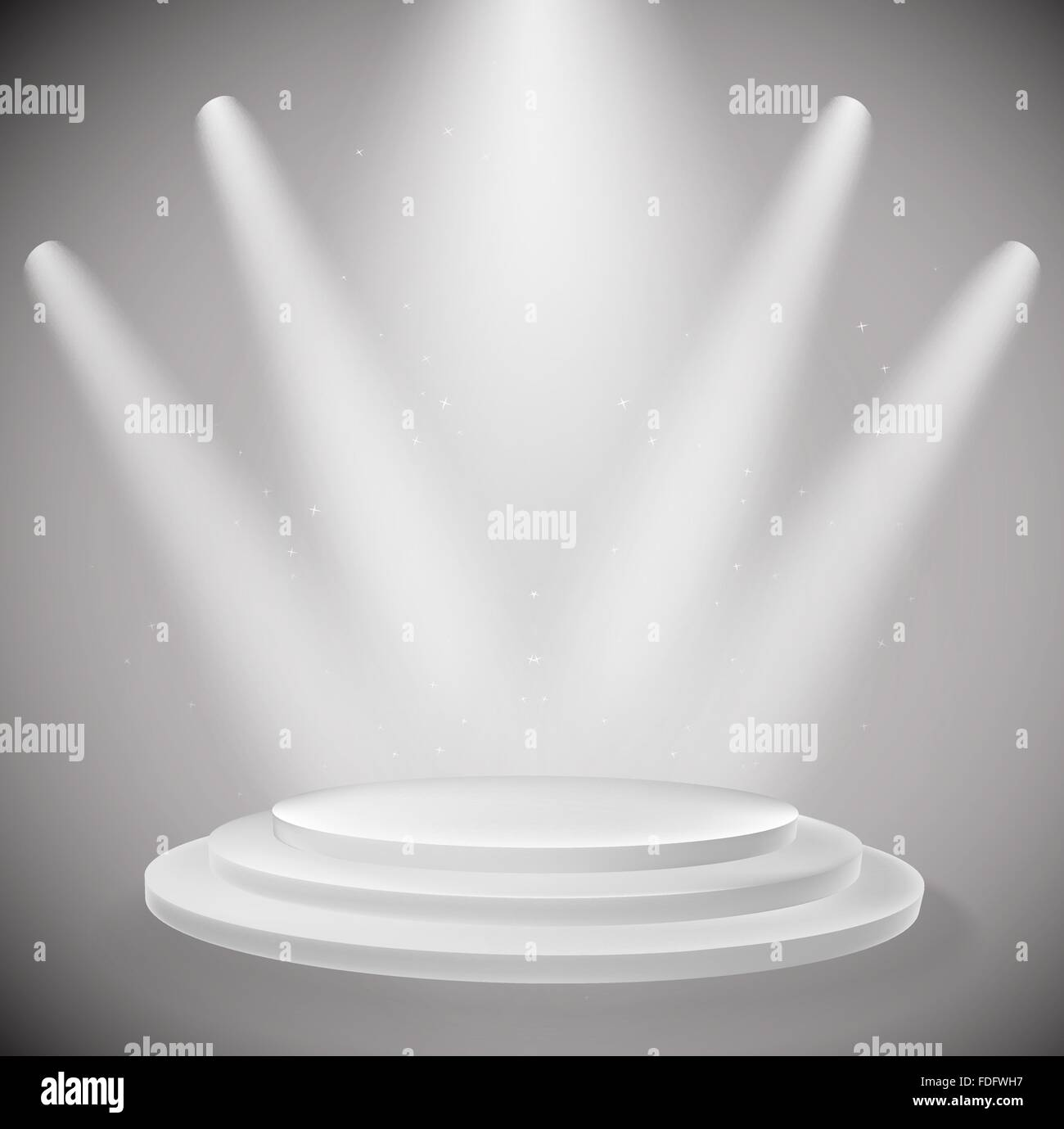 white podium and spot lights background. vector design template - Stock Vector
