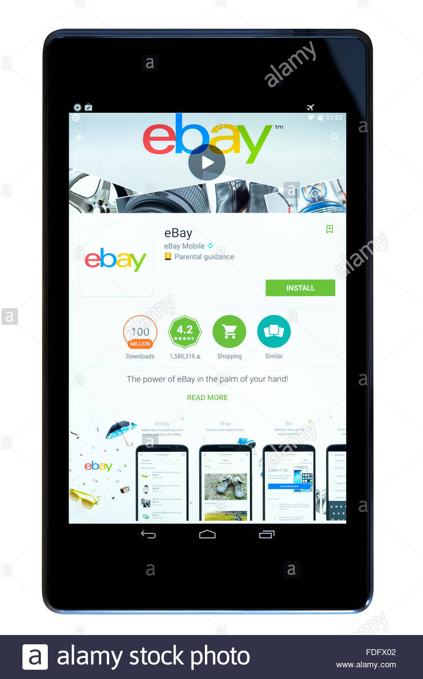 E-commerce app for eBay on an android tablet PC, Dorset, England, UK - Stock Image