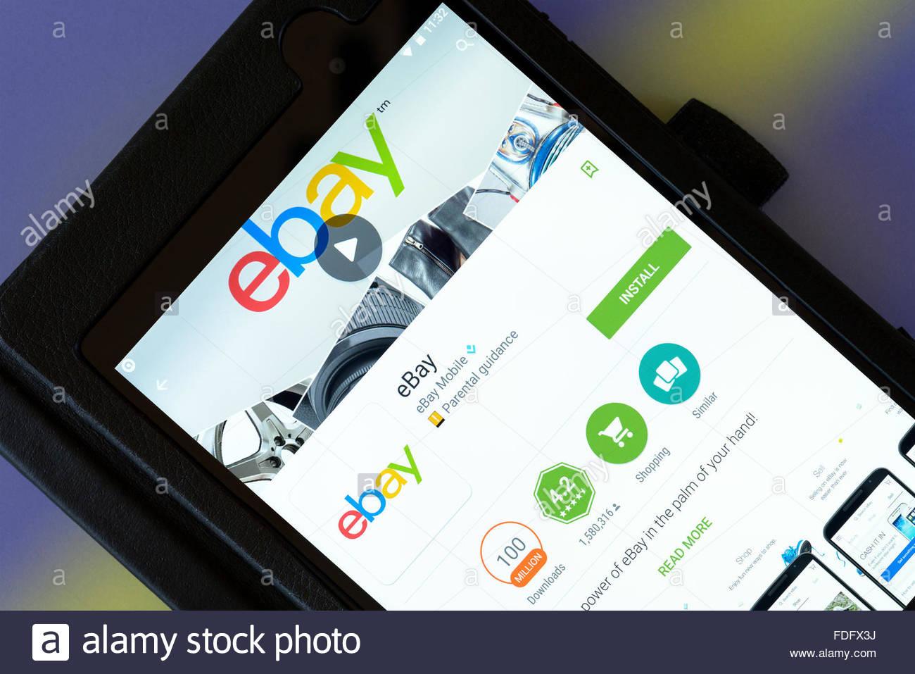E-commerce app for eBay on an android tablet PC, Dorset