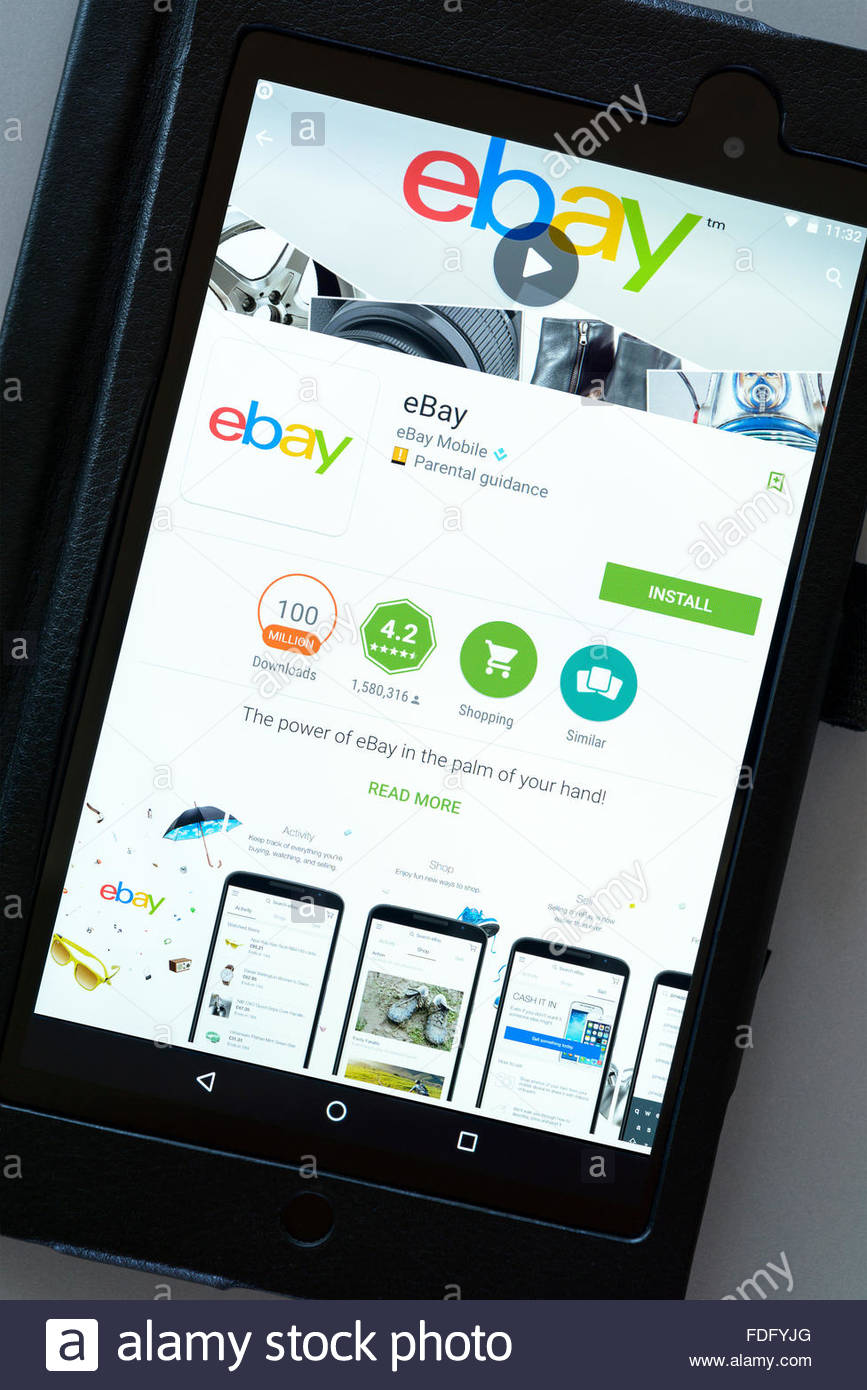 E-commerce app for eBay on an android tablet PC, Dorset