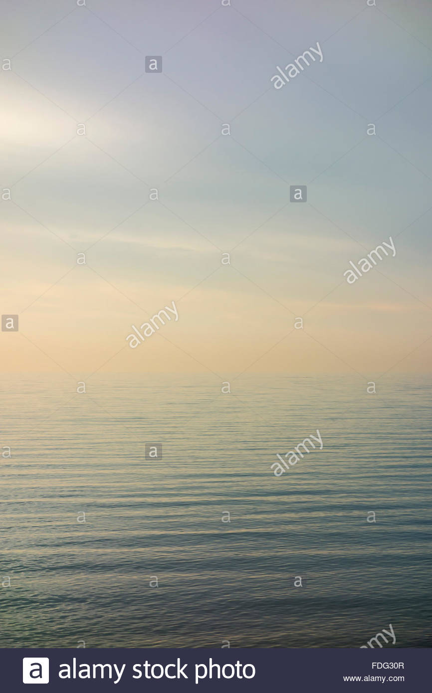 Eternal, endless, infinite limitless water of Lake Ontario one of the Great Lakes in early winter at Toronto Ontario - Stock Image