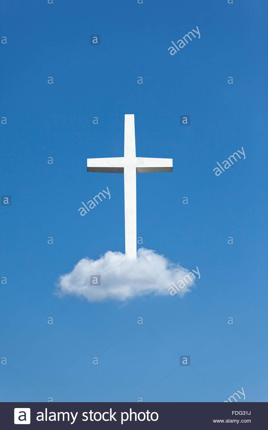 Photo illustration of heaven cross religion Christianity symbol icon faith holy religious heavenward heavenwards - Stock Image