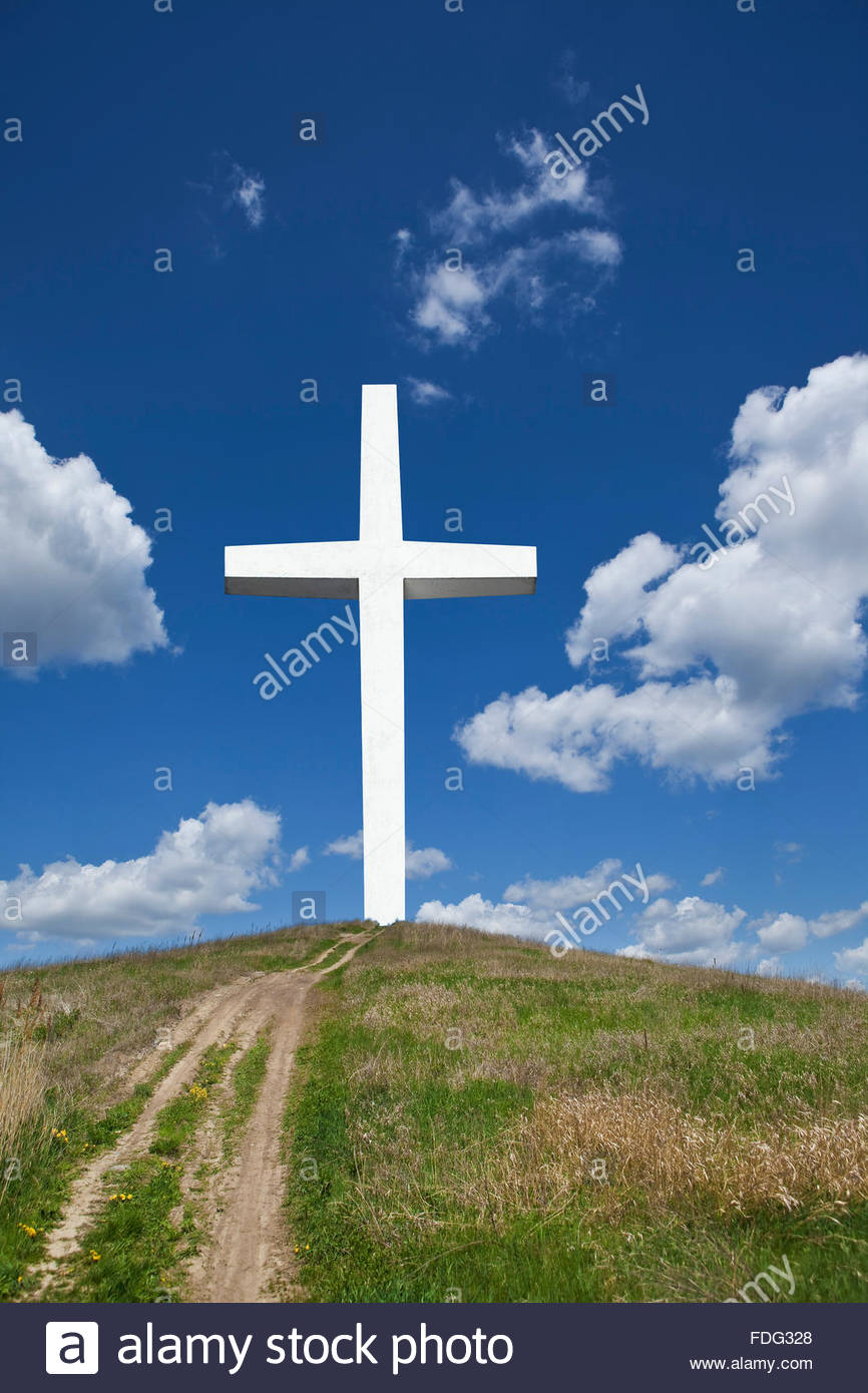 Photo illustration of cross religion Christianity symbol icon faith holy religious heavenward heavenwards Calvary - Stock Image
