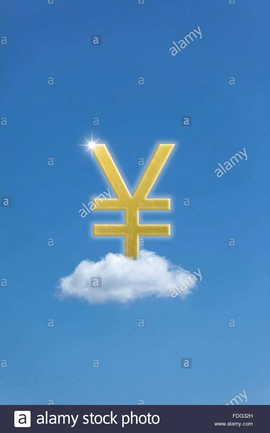 Concept of floating exchange rate for currency in Yen Yuan ¥  fluctuating money symbol money finance monetary - Stock Image