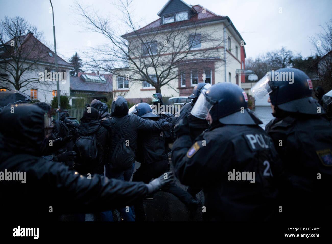 Buedingen, Germany. 30th December, 2016. Buedingen, Germany. 30th Jan, 2016. Neonazis march through Hesse town of Stock Photo