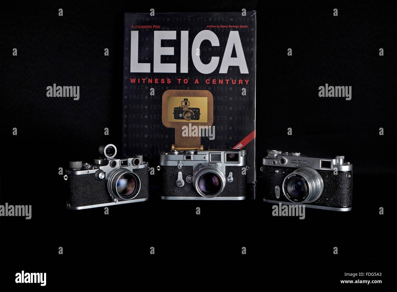 Compendium of classic vintage rangefinder film cameras. Stock Photo