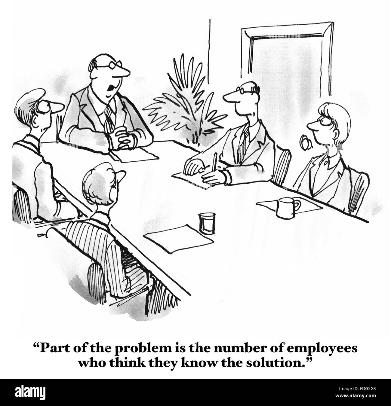 Cartoon of a business meeting where the boss is upset that the employees all think they know the answer to the problem. Stock Photo