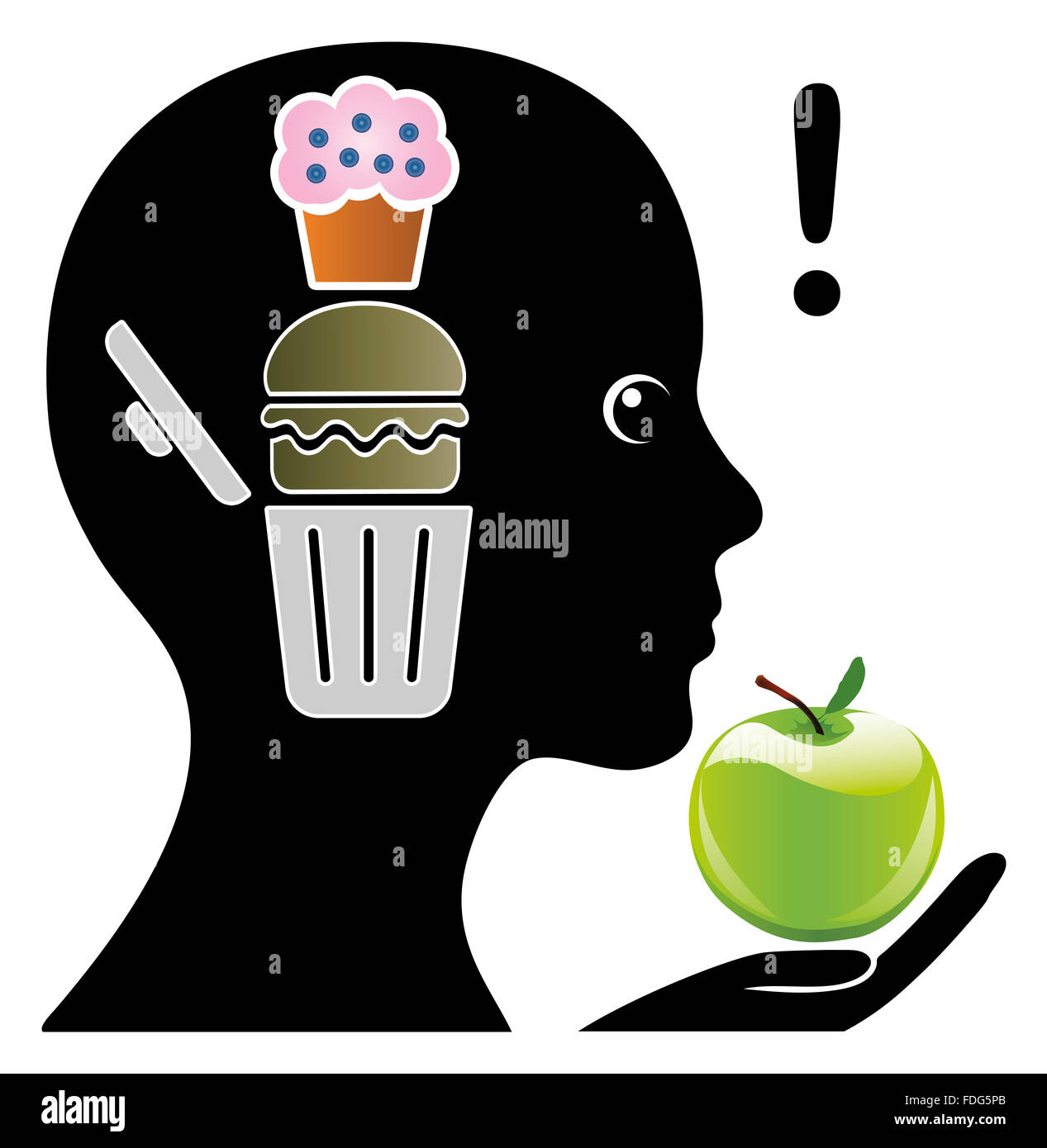 Brain training to crave healthy foods - Stock Image