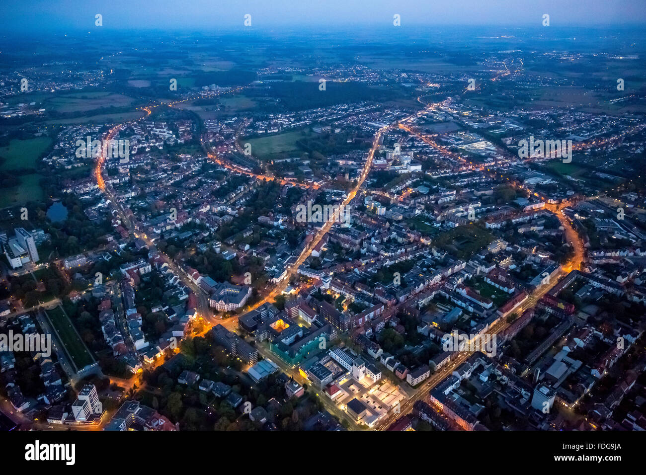 Aerial view, overview over the southeastern city of Hamm, Night Scene, Hamm, Ruhr Area, North Rhine Westphalia, - Stock Image