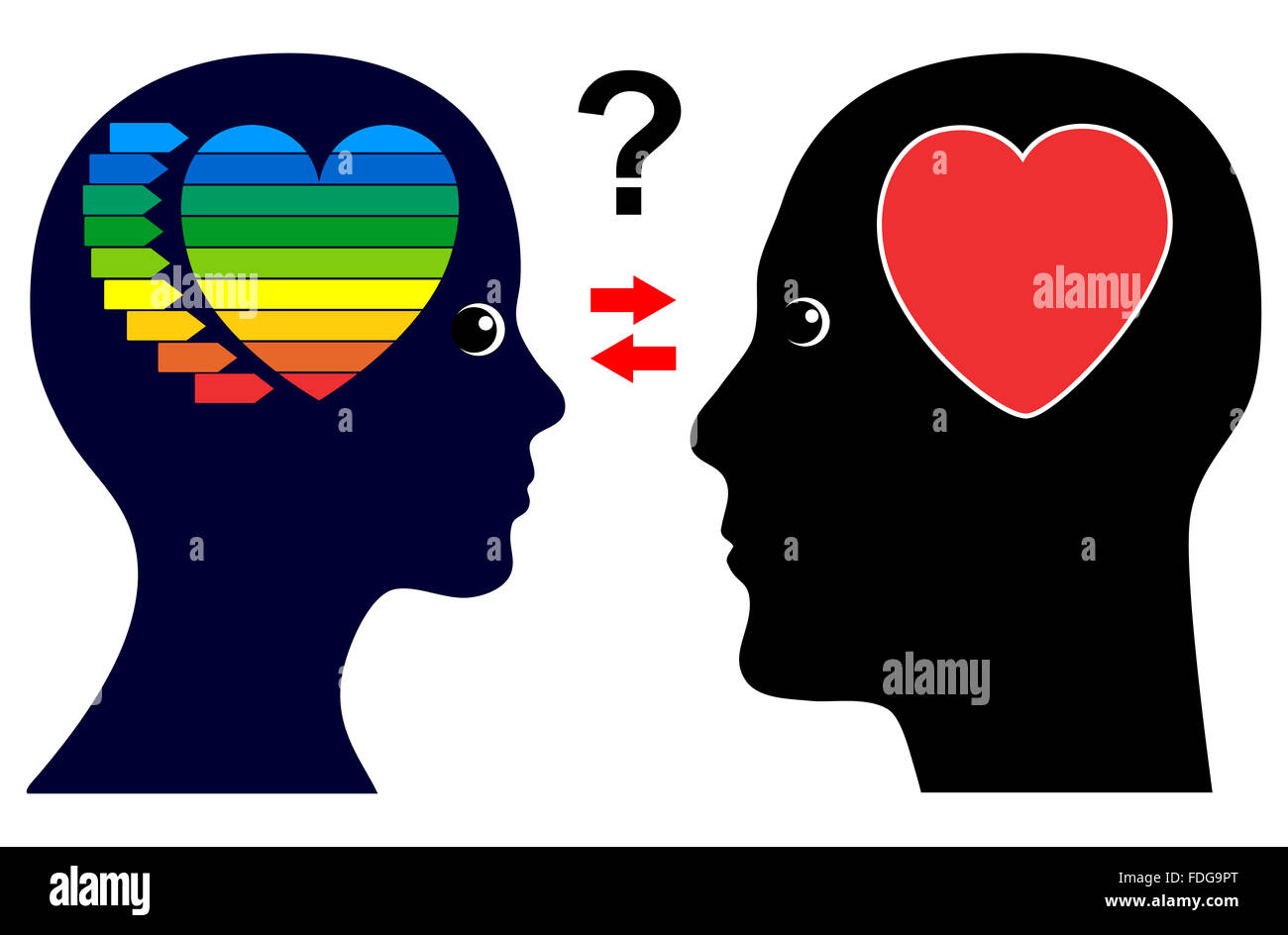 Gender Difference in Love and Intimacy - Stock Image
