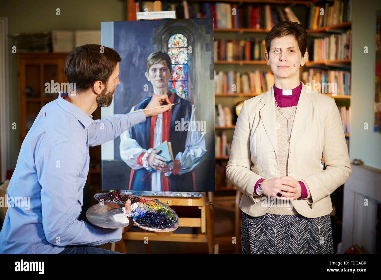 Libby Lane,  Church of England's Bishop of Stockport artist artwork creative art painted portrait by artist Tom - Stock Image