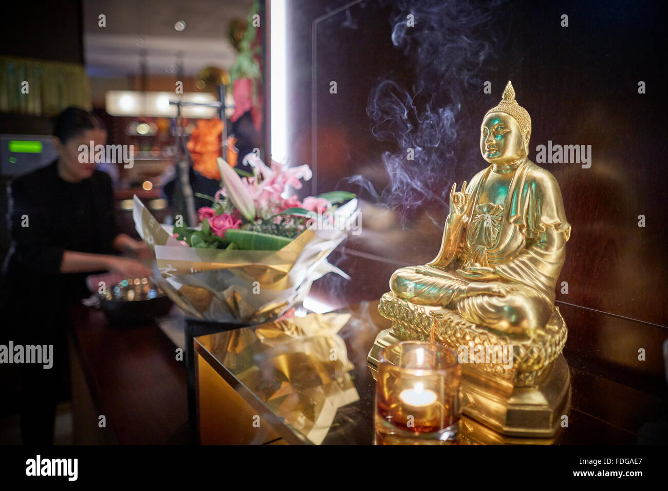 Busaba Thai restaurant exterior at Manchester Printworks   Restaurant dining food eating eating drinking  out date - Stock Image