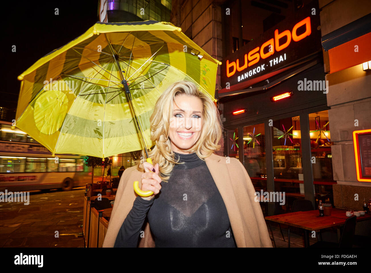 Busaba Thai restaurant opening party at Manchester Printworks   Wes Brown's wife Leanne Brown pretty footballers - Stock Image
