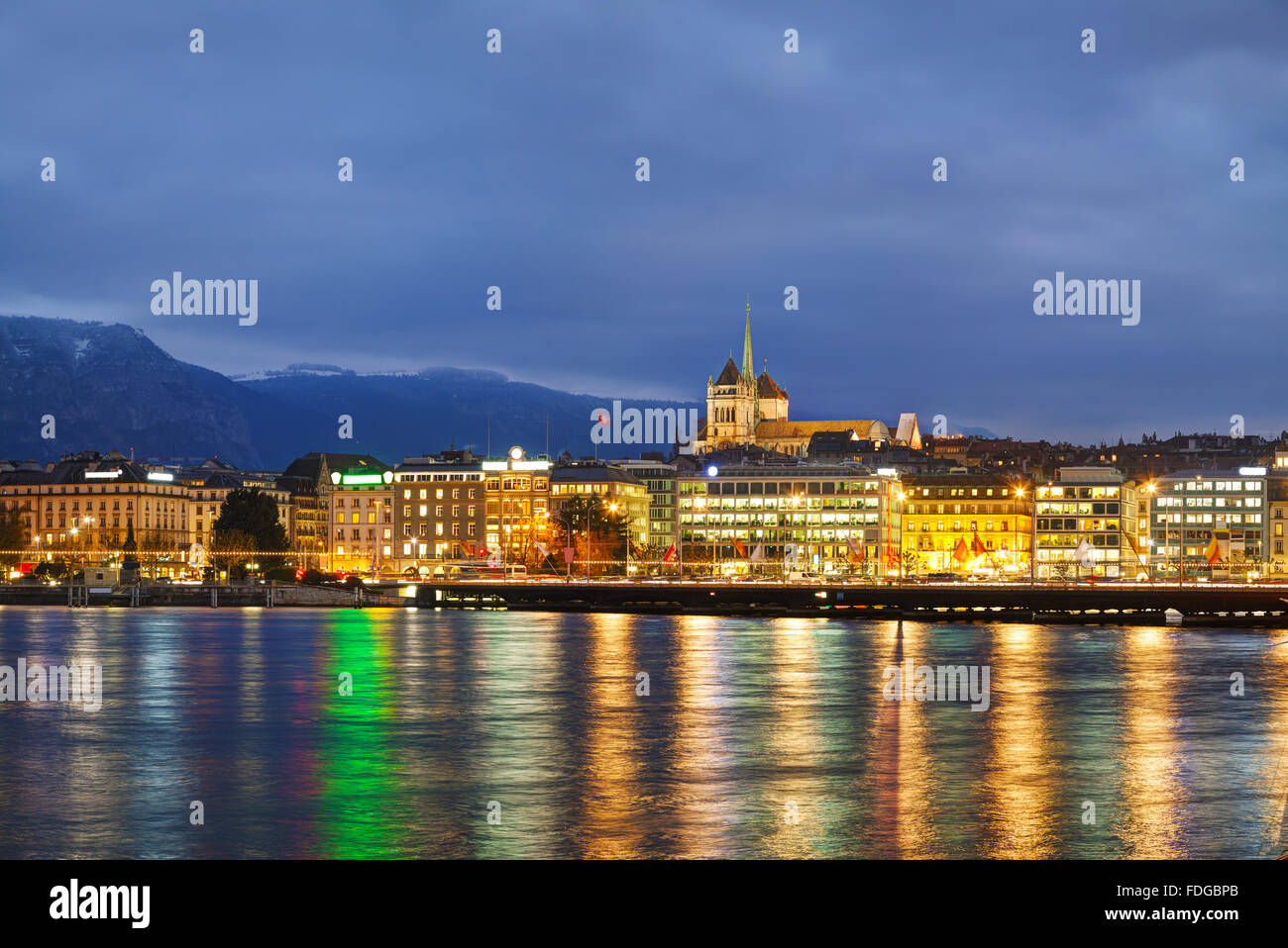 Overview of Geneva, Switzerland at the night time - Stock Image