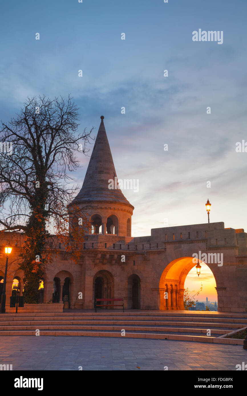 Fisherman bastion in Budapest, Hungary at sunrise - Stock Image